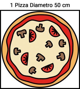 Immagine schema posizione pizza diametro 50 cm su camera forno pizza CHFP1EKO25