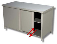 TOP Stainless Steel Work Table Cabinet Sliding Doors on Two Sides