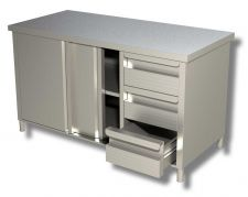 TOP Stainless Steel Work Table Cabinet With Doors and Drawers