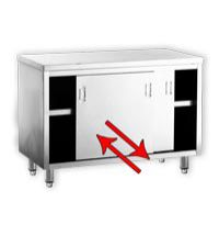 EKO Stainless Steel Work Table Cabinet Sliding Doors on Two Sides