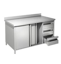 EKO Stainless Steel Work Table Cabinet With Doors and Drawers