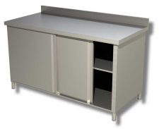 TOP Stainless Steel Work Table Sliding Doors Cabinet