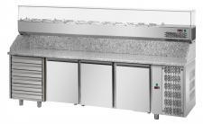 CHEFOOK 3-Door Pizza Prep Fridge + 6 Neutral Drawers + Grantite Top
