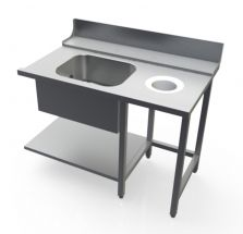 Right Dish Table With Tub And Hole For Commercial Dishwasher