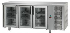 3 Glass Door Worktop Fridge 70 cm Depth