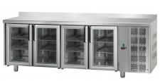 4 Glass Commercial fridge With Upstand 70 cm Depth