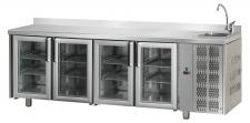 4-Glass Door Commercial Counter Fridge With Upstand And Sink 70 cm Depth