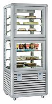 Vertical Glass Pastry and Ice Cream Display Cabinet Double Horizontal Chamber 230 LT