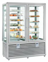 Vertical Glass Pastry and Ice Cream Display Cabinet Double Vertical Chamber 848 LT