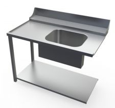 Chefook Left Dish Table With Sink For Commercial Dishwasher 120 x 77 x 85 h cm