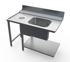 Left Dish Table With Tub And Hole for commercial dishwasher