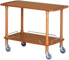 Servierwagen aus Massivholz mit 2 Ablageflächen Furniersperrholz in Nuss oder Wengé – 4 Rollen