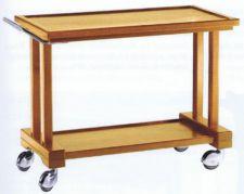 Servierwagen aus Massivholz mit 2 Ablageflächen Birken-Furniersperrholz L 115 cm – 4 Rollen