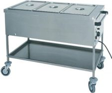 Heated Bain-Marie Stainless Steel Service Trolley 30°C - 90°C