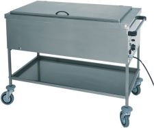Heated Bain-Marie Stainless Steel Service Trolley 30°C - 90°C With Lid