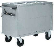 Heated Bain-Marie Stainless Steel Service Trolley On Counter 2 x 1-1 GN