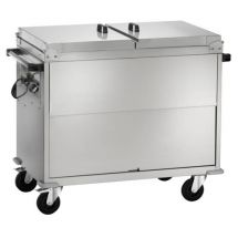 Heated Bain-Marie Stainless Steel Service Trolley On Counter 2 x 1-1 GN With Lids