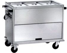 Heated Bain-Marie Stainless Steel Service Trolley On Counter 3 x 1-1 GN Differentiated Temperature