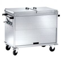 Heated Bain-Marie Stainless Steel Service Trolley On Counter 2 x 1-1 GN Differenciated Temperature With Lids