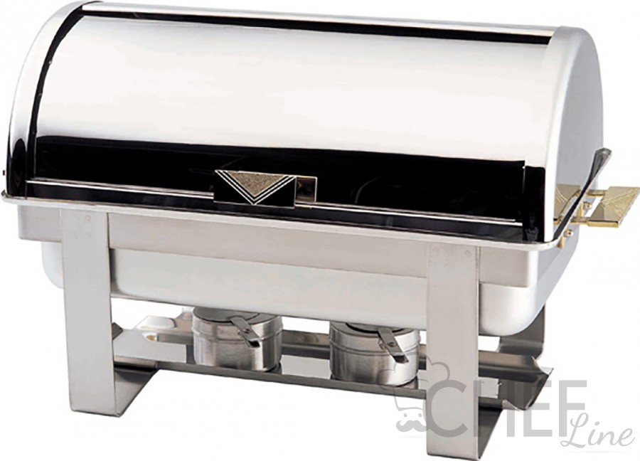 Food Warmer With Alcohol Burnerns And Roll-Top Lid
