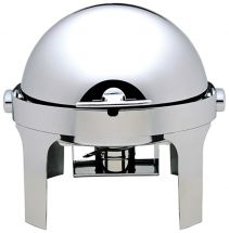 Round Food Warmer With Alcohol Burnerns And 180° Roll-Top Lid