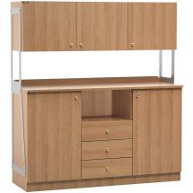 Waiter Station 2 Doors, 3 Drawers and 3 Overhead Cupboards Walnut