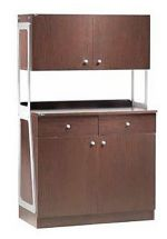 Waiter Station 2 Doors, 2 Drawers and 2 Overhead Cupboards Walnut