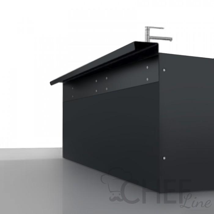 Black Backcounter Back With Shelf Depth 22 Cm