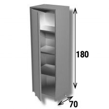 Stainless Steel AISI 304 Cabinet Hinged Door Depth 70 cm Height 180 cm