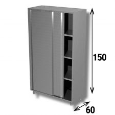 AISI 304 Stainless Steel Sliding Door Storage Cabinet Top Line