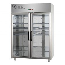 Commercial Upright Fridge 0°C/+10°C Double Glass Doors by Chefook