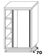 Eko 2 Stainless Steel Sliding Doors Cabinet Depth 70 H 200 CM