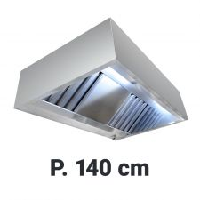 Wall Mounted Commercial Extractor Hood 'Cubic', 140 cm Without Motor