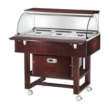 Wooden Refrigerated Service Trolley 3 Containers 1-1 GN With Dome And Flat Support Surface