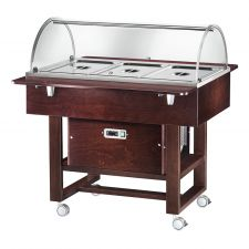 Wooden Refrigerated Service Trolley 3 Containers 1-1 GN With Dome