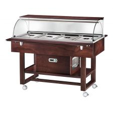Wooden Refrigerated Service Trolley 4 Containers 1-1 GN With Dome And Flat Support Surface