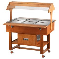 Wooden Refrigerated Service Trolley With Two Sides Access 3 Containers 1-1 GN With Roof