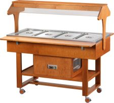 Wooden Refrigerated Service Trolley With Two Sides Access 4 Containers 1-1 GN With Roof