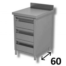 AISI 304 Stainless Steel Drawer Unit 3 Drawers With Backslash