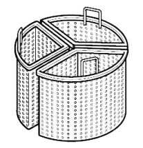 3 x 1/3 Perforated Half Baskets For Steam Kettle - 150 Liters - Depth 90 cm