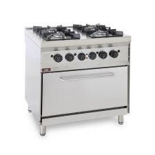 CHEFOOK 4-Burner Floor Commercial Gas Cooker + Gas Oven