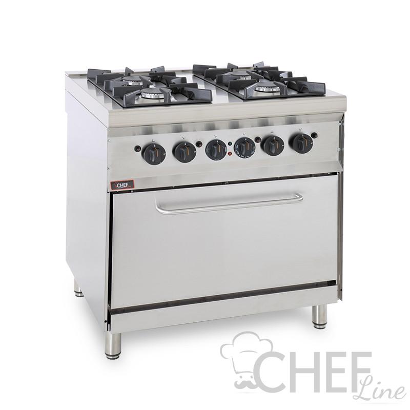 CHEFOOK 4-Burner Floor Commercial Gas Cooker + Gas Oven