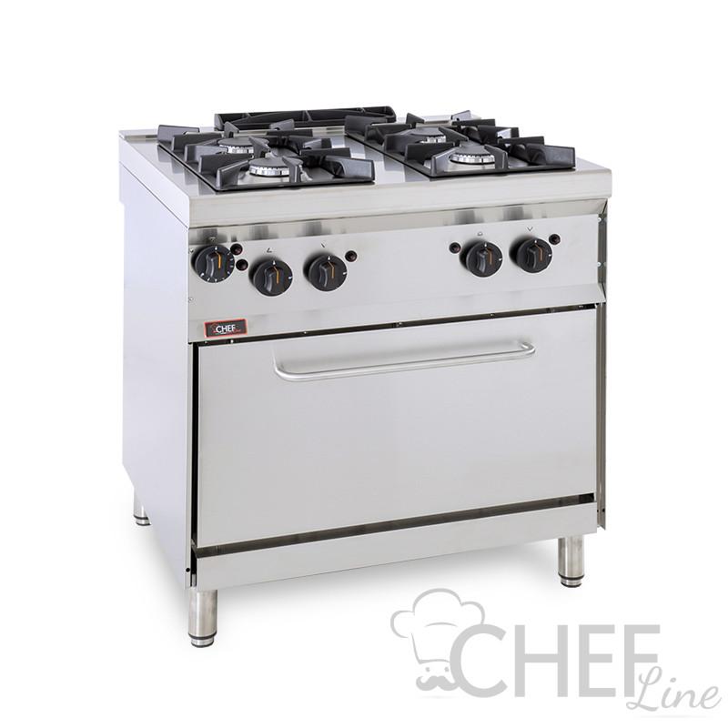 4-Burner Floor Commercial Gas Cooker + Gas Oven