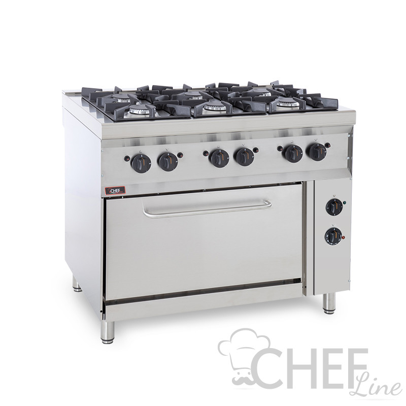 6-Burner Floor Commercial Gas Cooker + Electric Oven