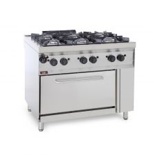 CHEFOOK 6-Burner Floor Commercial Gas Cooker + Gas Oven