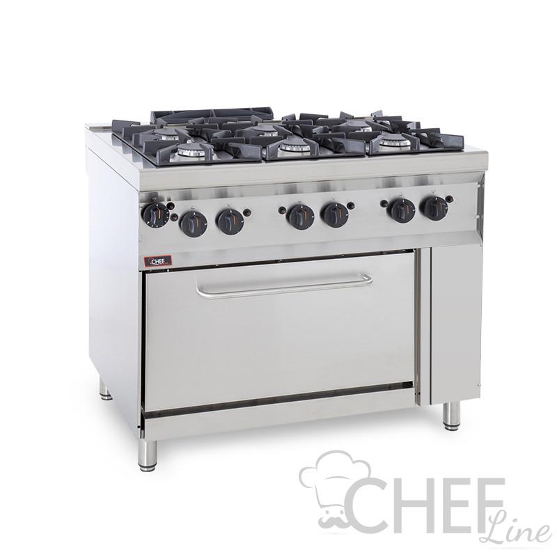 CHEFOOK 6-Burner Floor Commercial Gas Cooker + Gas Oven