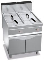 Image Electronic Floor Commercial Gas Fryer 20+20 Lt (4,4+4,4 UKgal) Capacity 90 Cm (35,5 In) Depth