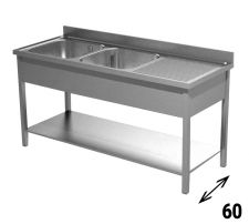 Commercial Stainless Steel Double-Bowl Sink With Righthand Drainer Depth