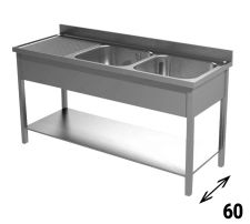 Commercial Stainless Steel Double-Bowl Sink With Lefthand Drainer Depth 60 cm