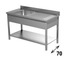 Commercial Stainless Steel Single-Bowl Sink With Righthand Drainer Depth 70 cm